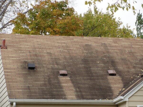 A dirty roof. It's actually an algae that eats away at the shingles.